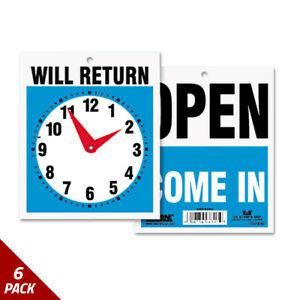 Double sided Open will Return Sign W clock Hands Plastic 7 1 2x9 6 Pack