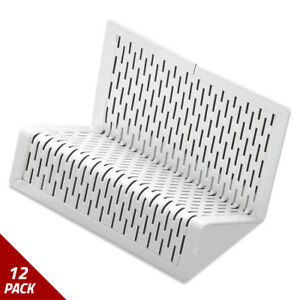 Punched Metal Business Card Holder Holds 50 2x3 1 2 White 12 Pack