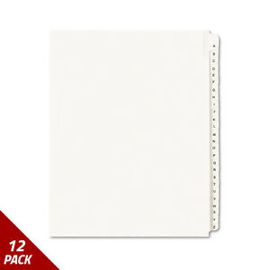 Avery Legal Exhibit Side Tab Dividers 26 tab A z Letter White 12 Pack