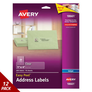 Avery Clear Easy Peel Mailing Labels Inkjet 1 X 4 200ct 12 Pack