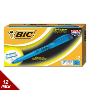 Bic Brite Liner Highlighter Chisel Tip Fluorescent Blue Ink Dozen 12 Pack