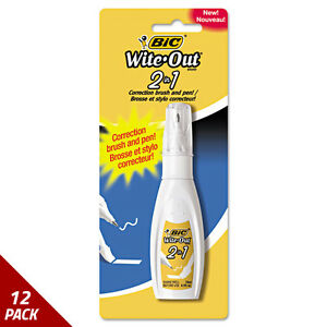 Bic Wite out 2 In 1 Correction Fluid 15 Ml Bottle White 12 Pack