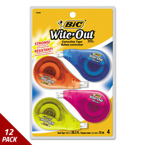 Wite out Ez Correct Correction Tape Non refillable 1 6 x400 4ct 12 Pack