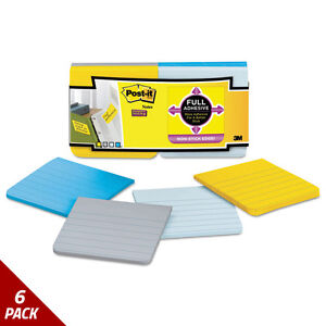 Post it Notes Super Sticky Notes 3x3 Ruled Asstd New York Colors 12ct 6 Pack