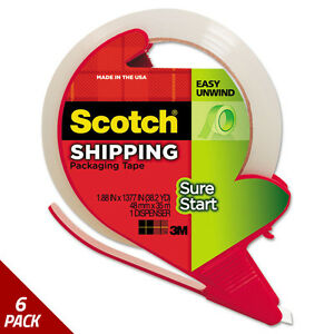 Sure Start Packaging Tape W dispenser 1 88 x38 2yds 1 88 Core Clear 6 Pack
