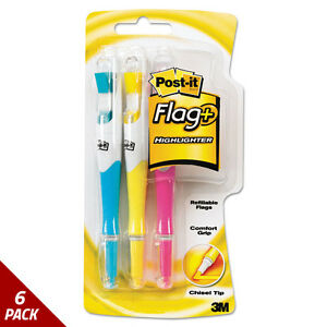 Writing Tools Flag Highlighter Blue yellow pnk 50 Flags pen 3ct 6 Pack