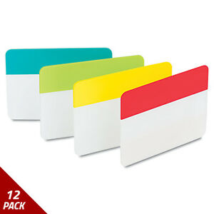 Post it Tabs File Tabs 2 X 1 1 2 Aqua lime red yellow 24ct 12 Pack
