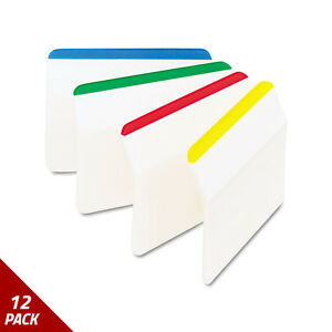Post it Tabs Angled Tabs 2x1 1 2 Striped Assorted Primary Colors 24ct 12 Pack