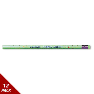 Moon Decorated Wood Pencil Caught Doing Good Hb 2 Green Brl Dozen 12 Pack
