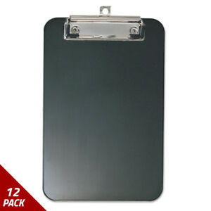 Officemate Plastic Memo Clipboard 1 2 Capacity 6 X 9 Black 12 Pack