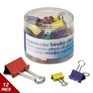 Officemate Binder Clips Metal Assorted Colors sizes 30ct 12 Pack