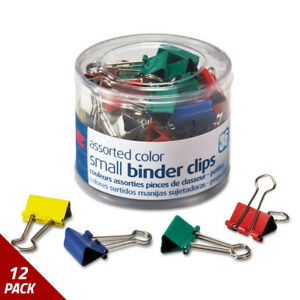 Officemate Binder Clips Metal 3 4 Assorted Colors 36ct 12 Pack