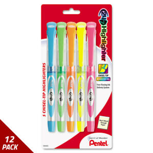 24 7 Highlighter Chisel Tip Blue green orange pink yellow Ink 5ct 12 Pack