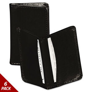 Regal Leather Business Card Wallet 25 Card Cap 2x3 1 2 Cards Blk 6 Pack