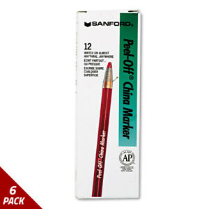 Sharpie Peel off China Markers Red Dozen 6 Pack