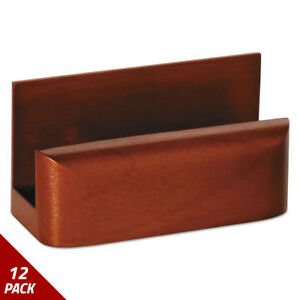 Wood Tones Business Card Holder Capacity 50 2 1 4x4 Cards Mahogany 12 Pack