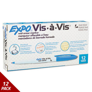 Expo Vis vis Wet erase Marker Fine Point Blue Dozen 12 Pack