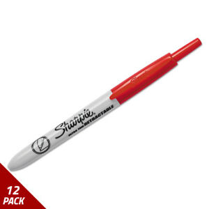Sharpie Retractable Permanent Marker Ultra Fine Tip Red 12 Pack