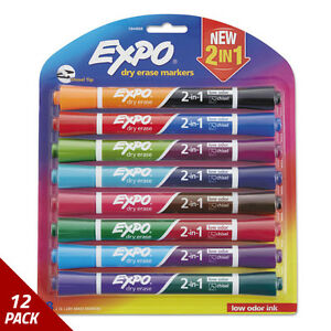 Expo 2 in 1 Dry Erase Markers 16 Assorted Colors Medium 8ct 12 Pack