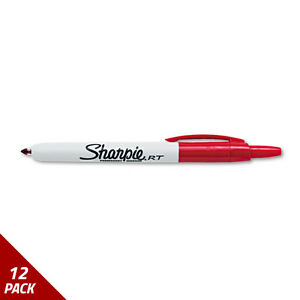 Sharpie Retractable Permanent Marker Fine Point Red 12 Pack