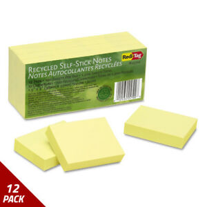 Redi tag 100 Recycled Notes 1 1 2 X 2 Yellow 12 100 sheetct 12 Pack