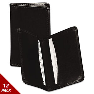 Regal Leather Business Card Wallet 25 Card Cap 2x3 1 2 Cards Blk 12 Pack