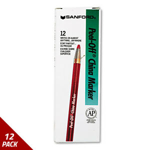 Sharpie Peel off China Markers Red Dozen 12 Pack