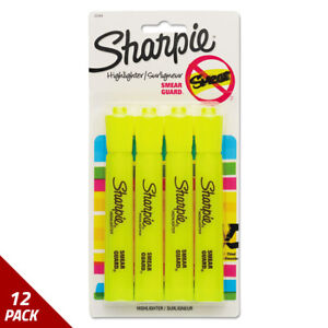 Accent Tank Style Highlighter Chisel Tip Fluorescent Yellow 4 set 12 Pack