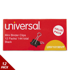 Mini Binder Clips Steel Wire 1 4 Capacity 1 2 Wide Blk silver 144ct 12 Pack