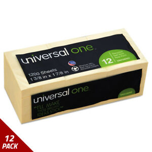 Universal One Recycled Sticky Notes 1 1 2 X 2 Yellow 12 100 sheetct 12 Pack