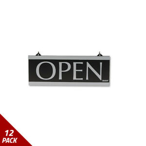 Century Series Reversible Open closed Sign W suction Mount 13x5 Black 12 Pack