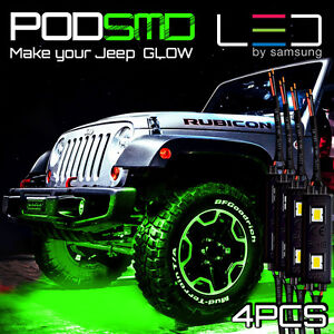 Green Led Atv Off Road Underbody For Jeep Underglow Neon Light Pods Trucks 4 Set