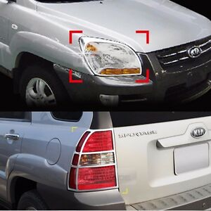 Chrome Head Lamp Cover Rear Tail Light Molding For Kia 2005 2008 Sportage Amex