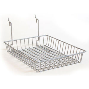 New Powder Coat Chrome Basket Fits Slatwall grid pegboard 10 w X 14 d X 2 h