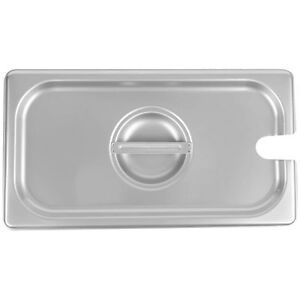 6 pack 1 3 Size Slotted Silver Stainless Steel Steam Table Hotel Pan Lids