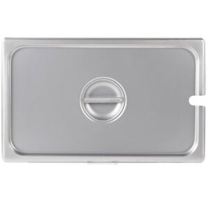 6 pack Full Size Slotted Stainless Steel Silver Steam Table Hotel Pan Lids