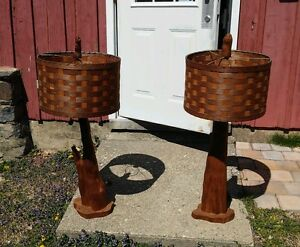 Pair Large Mid Century Modern Cyprus Root Wood Lamps