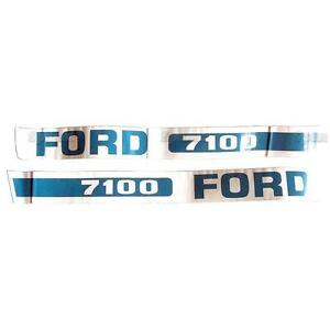 Ford 7100 Tractor Basic Hood Decal Set Emblem Kit