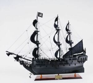 Black Pearl Pirates Of Caribbean Tall Ship 28 Wooden Model Sailboat Assembled