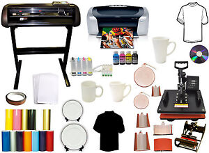 8 In 1 Combo Heat Press vinyl Cutter Plotter printer ciss mug Ink paper Bundle