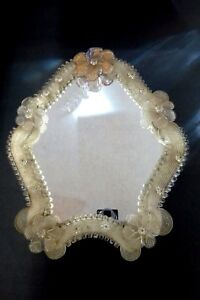 Murano Glass Vanity Mirror Hand Made Italian Design Vintage