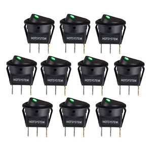 Lot 10 Hotsystem Rocker Dot Toggle Spst Switch Green Led On Off Control Us