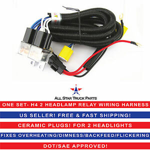 H4 Headlight 2 Head Lamp Relay Socket Plug Wiring Harness Fix Dim Lights