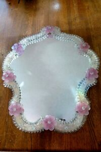 Murano Glass Mirror Vanity Table Top Hand Made Italian Design Antique