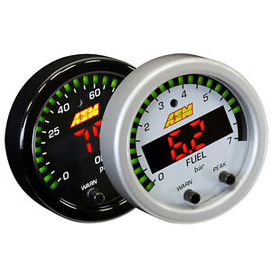 Aem 30 0301 52mm X series Oil fuel Pressure Gauge 100psi 7bar W White Face Kit