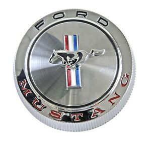 New 1966 Ford Mustang Gas Cap Chrome Twist On With Cable Made By Scott Drake