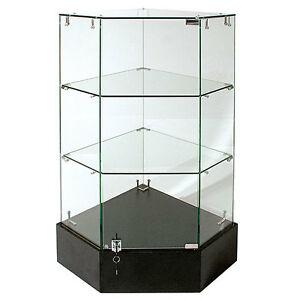New Retails Frameless Glass Countertop Corner Unit 18 X 18 X 38h
