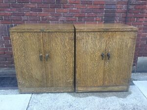 2 Vintage General Fireproofing Co Heavy Duty Steel Faux Grain Storage Cabinets