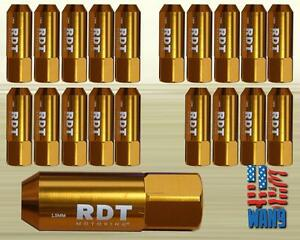 Gold M12x1 5 60mm Aluminum Tuner Racing Wheel Lug Nut 20pcs For Honda Acura