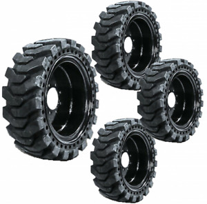 4 New Solid Skid Steer Tires 12x16 5 Flat Proof 8 Lug Fits New Holland